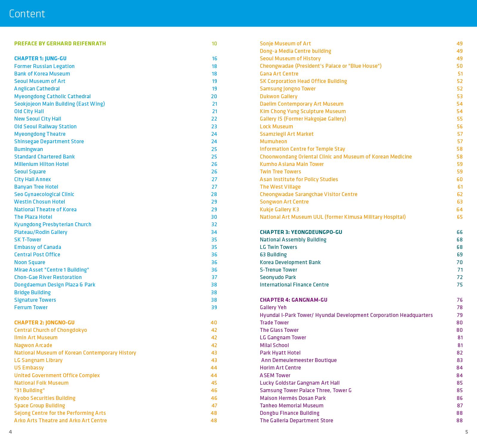 Eine Doppelseite des Inhaltsverzeichnisses